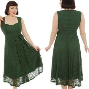 Lindy Bop US 10 Grace green lace overlay dress